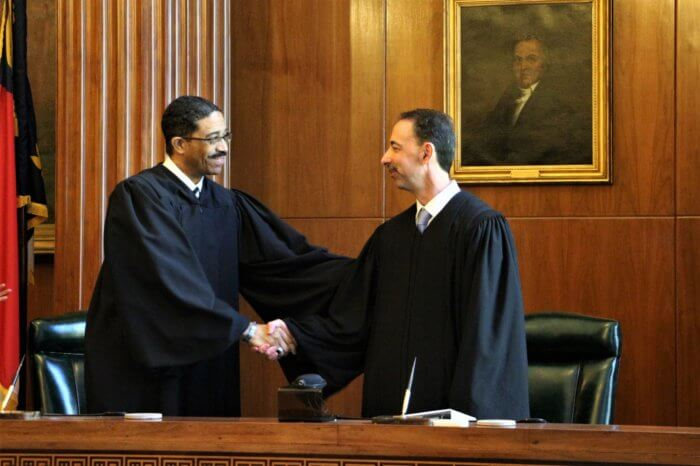 Associate Justice Michael Morgan welcomed Davis to the high court.