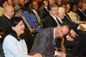 Marsha Davis, Mark Davis and Governor Roy Cooper.