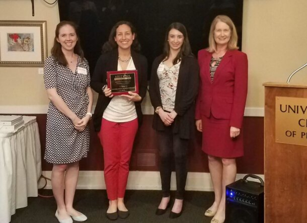 Justice Timmer presents the Fragomen women attorneys with the Furthering the Mission of AWLA recognition. (L-R): Jena Decker-Xu, Jill Bloom, Danielle Ser, Justice Timmer