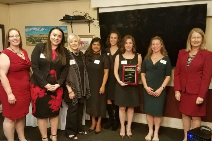 Tiffany & Bosco received a special honor for historical support of AWLA. (L-R): AWLA Maricopa President Jebbie Whiteside, Tiffany & Bosco attorneys Chelsea Hesla, Pamela Kingsley, Gaya Shanmuganatha, Jessica Brown, Ashley Case and Tina Ezzell, and Justice Timmer