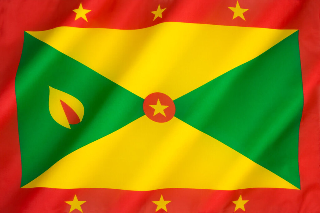 Grenada Flag: The flag of a Caribbean country located off the coast of Venezuela