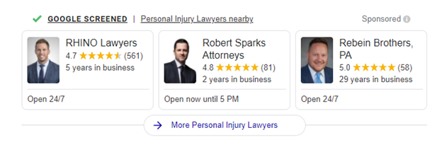 Personal Injury Lawyers Google Local Service Ad Example