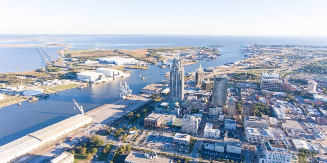 Downtown Mobile, Alabama waterfront