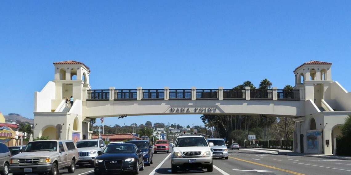 cars and trucks entering Dana Point, California