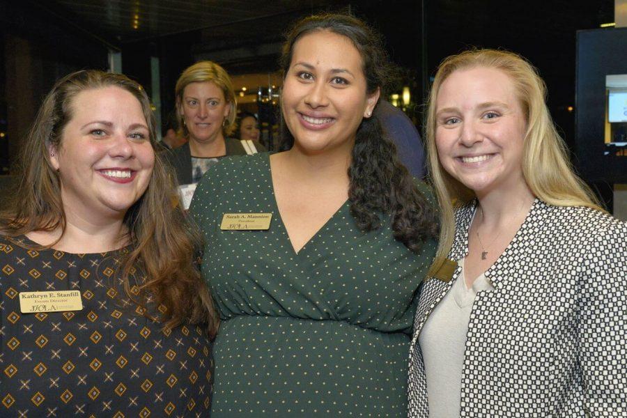 Kathryn E. Stranfill,, JWLA President Sarah Mannion  and Hannah Anderson